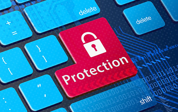 Security concept:: Protection key on keyboard