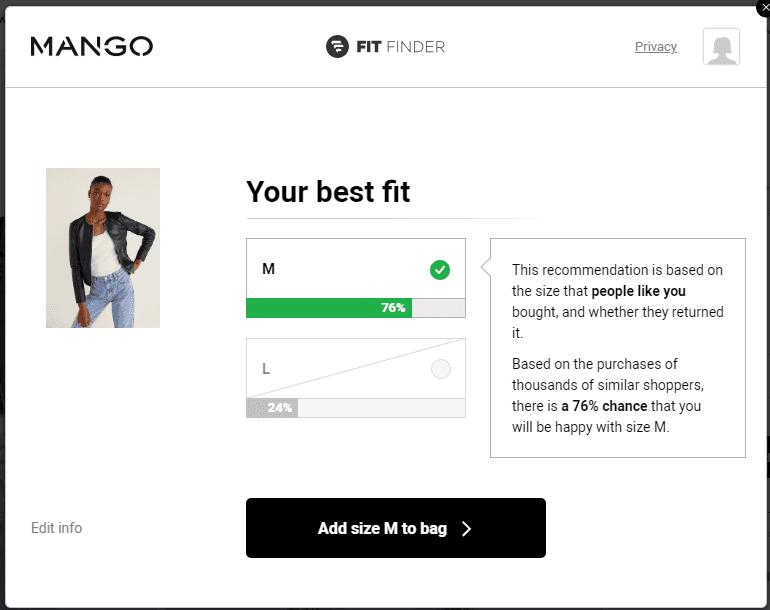 пример продающего квиза на сайте MANGO