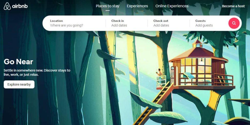 Так сейчас выглядит главная страница сайта Airbnb