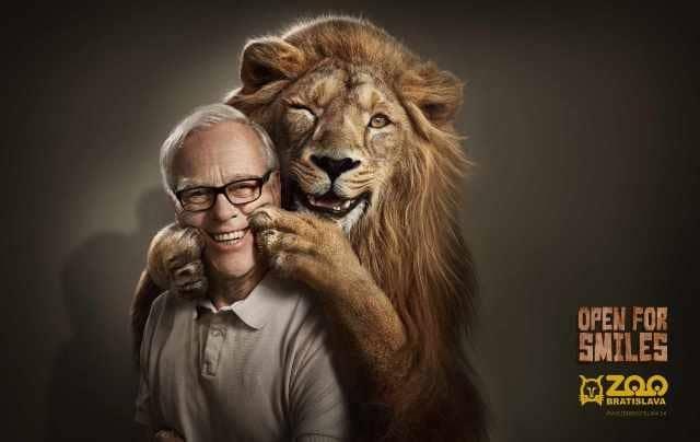 Улыбающийся лев и мужчина
