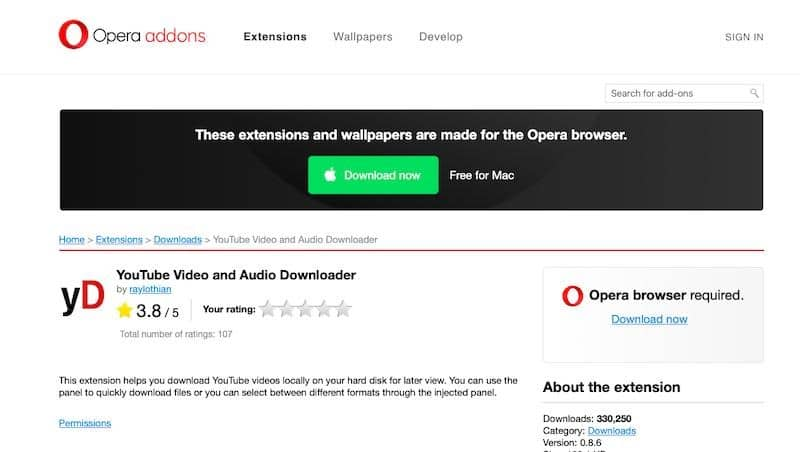 «YouTube Video and Audio Downloader» для Opera